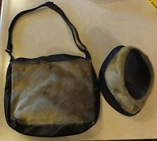 VTG FUR & LEATHER SHOULDER BAG PURSE W/ ADJUSTABLE STRAP & MATCHING BUCKET HAT