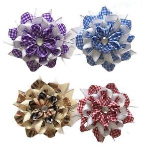 Gingham Ribbon School Hair Bow Hair Clip Diamante Center Girl Accessory 🇬🇧