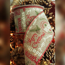 Wired Hessian Christmas script message Ribbon. Xmas Wedding Bow Wrap Tree Wide