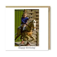 Funny Vintage Retro Nostalgia Birthday Card, Horse Ride Girl Gun 1960s, Honovi