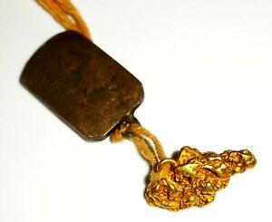 Vintage US Mini Gold Nugget Pendant w. Bail (LuD)
