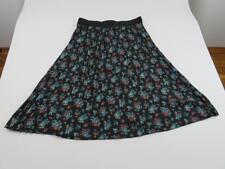 LuLaRoe Black Blue Rose Floral Pleated Jill Skirt Womens 2XL Unicorn Vintage HTF