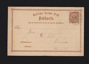 Ganzsache DR P1 von Salzderhelden von 1873 gelaufen