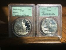Beautiful 1986-S (ICG-PR67) & 1986-P (ICG-MS69) Statue of Liberty Silver $ Set