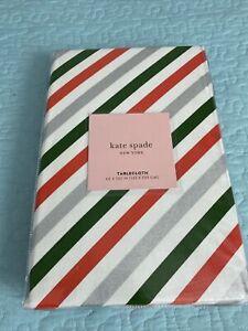 "NWT Kate Spade Christmas Tablecloth Diagonal Stripe 60"" X 102"" Rectangular"