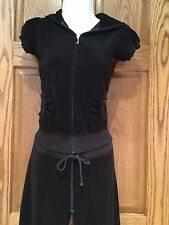 JUICY COUTURE TRACK SUIT BLACK SHORT SLEEVE JACKET AND PANTS SIZE P (XS) EUC