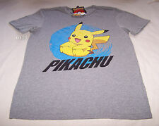 Pokemon Mens Pikachu Grey Marle Printed Short Sleeve T Shirt Size XXL New
