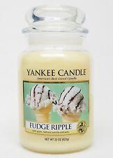 Yankee Candle FUDGE RIPPLE Ice Cream Cone Vanilla LARGE 22 OZ Classic Jar Candle