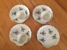 Vintage Lunch Plates with Matching Cups Purple Flowers Set of 7