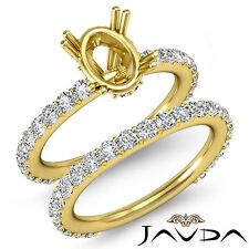Diamond Engagement Half Eternity Ring Oval Bridal Settings 14k Gold Yellow 1.5Ct