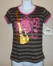 Bobby Jack Girls Short Sleeve V-Neck Graphic T-Shirt Brown Large (L) NWT