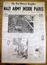 1940 WW II headline display newspaper PARIS France FALLS to NAZI GERMANY - w Pic