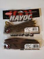 "2 Packs Berkley Havoc Bass Bait Fishing 6.25"" Bottom Hopper Worms Black Emerald"