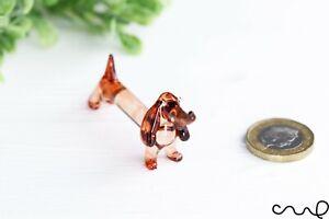 NEW Small Tiny Handmade Glass Sausage Dog Gloss  Decor Ornament Brown Dachshund