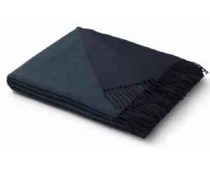 Biederlack Cashmere & Wool Velvet Feel Dark Blue Fringed Blanket - 130 x 170 cm