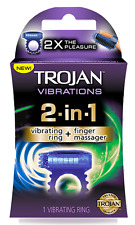 Trojan Vibrations 2 in 1 Vibrating Ring + Finger Massager 2x The Pleasure 1 Ct