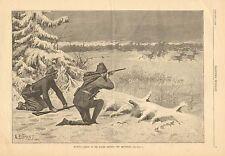 New Brunswick, Canada, Hunting Caribou, Native American Guide 1884 Antique Print