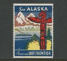 """USA early """"Alaska""""  Ship & Totem Pole Poster Label"""
