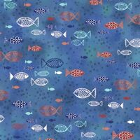 "Quilting Treasures Dream Boat Ocean Blue Fish 100% cotton Fabric Remnant 25"""