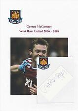 GEORGE McCARTNEY WEST HAM UTD 2006-2008 ORIGINAL HAND SIGNED CUTTING/CARD