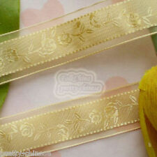 """5 Yards Gold 24mm 1"""" Rose Flower Organza Ribbons Sewing Trimming Craft New"""
