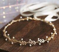 Women Boho slim Gold Leaf Rustic Wedding Bride Hair Headband Crown Tiara Jewelry