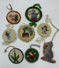 Vintage Mixed Lot 8 Christmas Home Made Needlepoint Ornaments Finished Completed