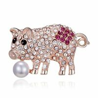 Fashion Lovely Pearl Crystal Pig Animal Breastpin Brooch Pin Women Jewelry Gift