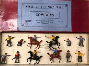 Britains: RARE Boxed Display Set 320A - Cowboys. Pre War, c1932. Unlisted.