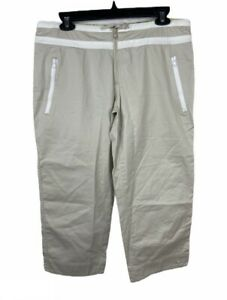 Nike Athletic 72 Series Women's Khaki Medium Capri Pants Draw String And Zippers