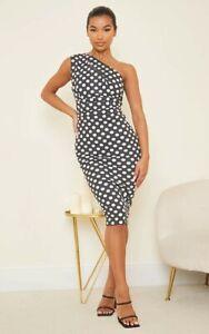 Pretty Little Thing PLT Black White Polka Dot One Shoulder Ruched Midi Dress 14