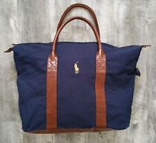 POLO RALPH LAUREN NAVY BLUE with PONY TRAVEL GYM OVERNIGHT WEEKENDER DUFFLE BAG