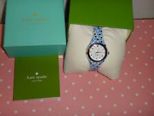 Kate Spade Women's Rumsey Silver Watch Blue White Floral Silicon Strap KSW1087