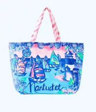 af461322e294 Lilly Pulitzer Nantucket MA Lighthouse Sailboat Destination Beach Tote Bag  NEW