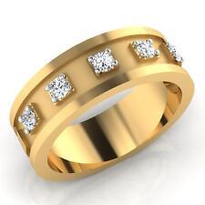 0.29 ct Real Diamond Men Wedding Band 14K Yellow Gold Engagement Ring Size W R T