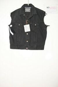 Levis Gilet Customized (cod. WB100)jeans tg.L remake Vintage Nero disegno a mano