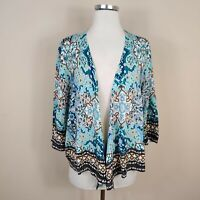 NWT Chicos 3 / XL Floral Print Cardigan Sweater Cotton Blend Open Front