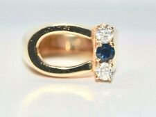 Ring 14k Yellow Gold 0.34 - 0.42 Carats Diamonds And A Blue Sapphire 10.64 Grams