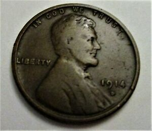 1914-D LINCOLN CENT. RAW, UNCERTIFIED & CIRCULATED. VF CONDITION. (GM)