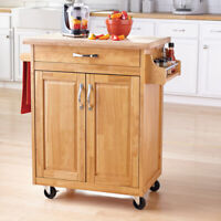 Rolling Kitchen Cart Island Small Microwave Stand Cupboard Drawer Wood Natural