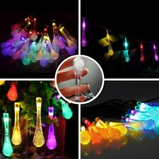 30 LED Raindrop Teardrop Solar Powered String Fairy Lights Outdoor Garden Party