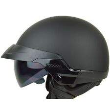 Size M - PGR B20 MATTE BLACK Aviator Motorcycle DOT Half Helmet Chopper Harley