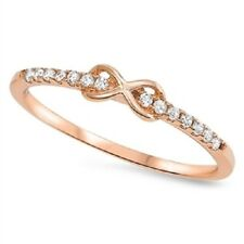 ROSE GOLD Plated CZ Promise Forever Kiss Ring Band Plus Size 10 11 12 ( T V X )
