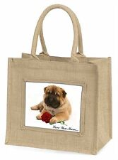 Shar-Pei+Rose 'Love You Mum' Large Natural Jute Shopping Bag Chri, AD-SH2RlymBLN