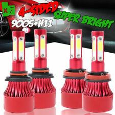 Combo 4-Sides 9005 + H11 LED Headlight Bulbs Total 4000W 600000LM Hi/Low 6000K
