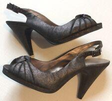 Next Uk7 Eu41 Slingback Peep Toe Granite Sparkle Evening Wear Worn Once