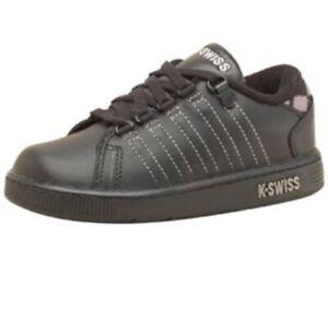 K Swiss Boys Trainers   Black Grey White Infant Kids  Shoes Size  4.5