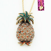 Betsey Johnson Crystal Rhinestone Pineapple Pendant Chain Necklace/Brooch Pin