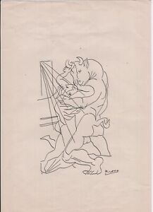 P. Picasso Original Hand-Signed INK Sketch Drawing on Paper 21 x 29.5 cm * w/LOA