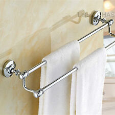 Fashion Chrome Brass Bath Towel Holder Wall Mount Bathroom Dual Towel Rack Rail